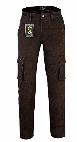 Shamzee Cargo Lederhose aus Buff Nubuck Leder in Braun Farbe Braun