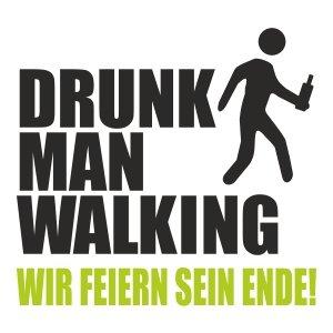 T-Shirt für den Junggesellinnenabschied mit dem Motiv Drunk man walking Schwarz