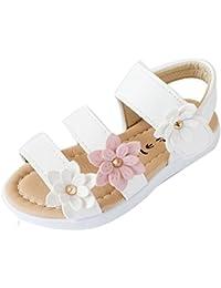 Zarupeng Sandalias de Niños de Verano para Niños Zapatos de Princesa de Niñas Grandes de Flor de Moda Zapatos Niña Verano Zapatos de Cuero Niña Flor Zapatos