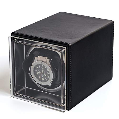 Automatischer Uhrenbeweger für einzelne Uhren Rotierende Uhren Aufbewahrungsbox aus Leder Geeignet für Damen und Herren, Black