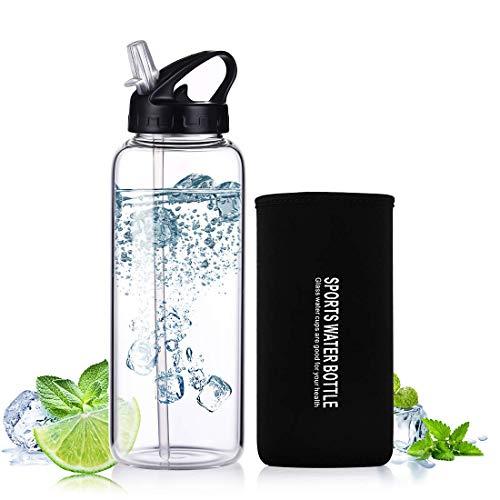 ONEISALL Bottiglia d'Acqua Sportiva, 900ml BPA-Free Bottiglia Vetro Trasparente Portatile con Guaina Protettiva in Neoprene per Il Campeggio Viaggi tè Ufficio, Nero