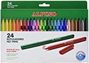 Rotuladores Alpino Coloring para Niños - Estuche de 24 Colores con Punta Fina 3mm - Tinta Lavable - Perfecto p