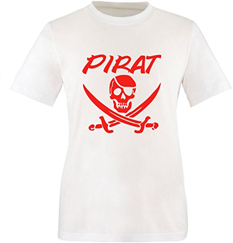 EZYshirt® Pirat Herren Rundhals T-Shirt Weiß/Rot