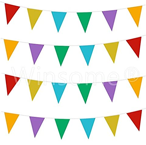 Winsome® 33 Feet Long 20 Flags Multi Colour PVC Plastic Bunting Banner Pennant Double Sided For Birthday Party Event Sporting Game