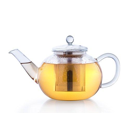 Creano Théière de verre 1.2l, infuseur de thé 3 pièces avec tamis intégré en Inox et couvercle en verre, idéal pour la préparation de thés en vrac, ne goutte pas, tout en un