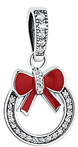 SaySure - 925 Sterling Silver Sparkling Christmas Wreath Charms