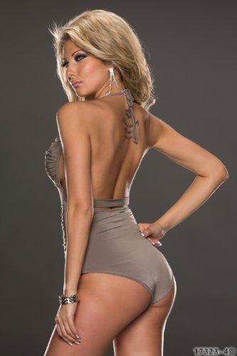 Fashion4Young 5758 0120 body sexy à nouer dans le cou pour femme top disponible en 2 tailles 4 couleurs - Fossile