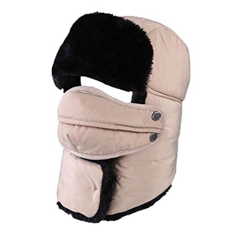 ALAIX Cappello della falda dell'orecchio unisex traspirante invernale trapper Trooper Ushanka con maschera antivento,Cachi