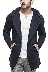 Tinted Mens Cotton Blend Hooded Cardigan TJ5401-NAVY-XL