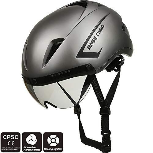 Base Camp Fahrradhelm mit abnehmbarem Visier Rennradhelm Sporthelm, Damen/Herren, Helm für Skates/Fahrrad (Air Grau)