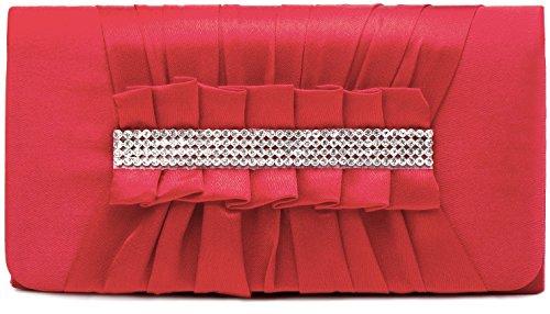 VINCENT PEREZ Borsetta, Borsa a tracolla, Pochette di raso increspato con strass eleganti e tracolla rimovibile (120cm) corallo