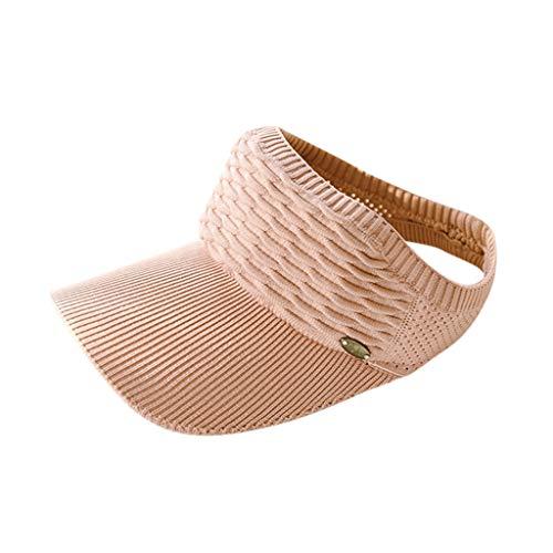 (CANDLLY Hut Damen, Kopfbedeckung Zubehör Kopfschmuck Unisex Outdoor Sport Sonnenhut einfarbig Mesh atmungsaktiv plus Kappe stricken Adjustable Cap Sunscreen Sun Solide Mesh Hat(Rosa,One Size)