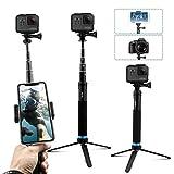 AuyKoo Selfie Pole Stick para Gopro, Mini Soporte de trípode para cámara acción, Monopie de empuñadura para GoPro Hero 7/6/5/4/3, Fusion, Session, Yi