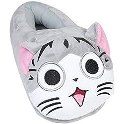 YUMOMO Emoji Zapatillas Peluche de estar por casa para Mujer y Hombre Regalo Zapatos (Gato, gris)