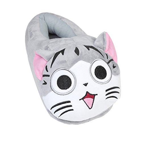 YUMOMO Unisex Emoji Faccine Pantofole Caldo Inverno Peluche Carino Cartone Morbido Uomo Donna (gatto,grigio)