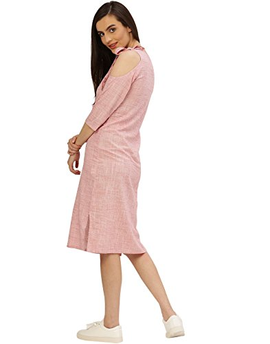 Desi-Fusion-Womens-A-Line-Pink-Solid-Cotton-Flex-Cold-Shoulder-Dress