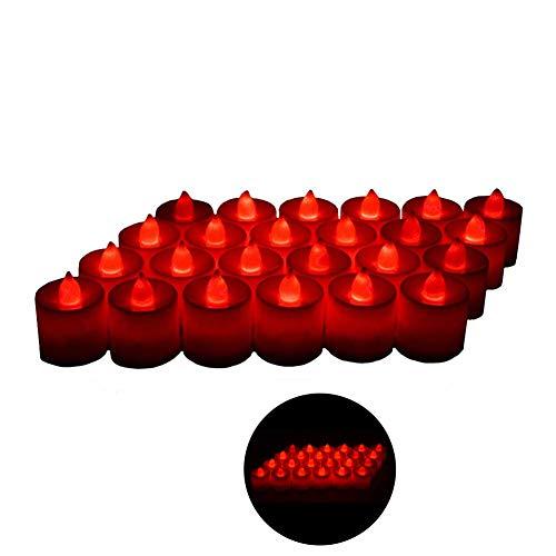 Xelparuc 24 lumini a led - tremolanti lumini senza fiamma - candele elettroniche falsificate a batteria - decorazione per matrimoni, feste, appuntamenti e festival (rosso)