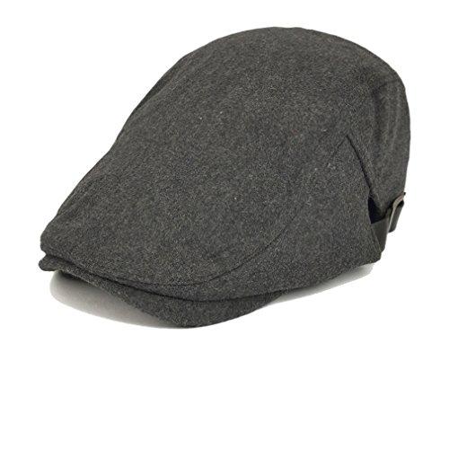 Luck Adulte Homme Béret Chapeau Newsboy Flat Hat Cap Bonnet Duckbill Hiver (Gris Foncé)