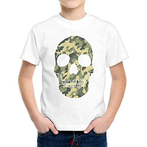 T-Shirt Bambino Ragazzo Teschio Skull Militare Camouflage (Militari T-shirt)