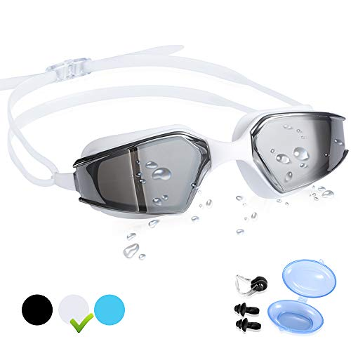 CybGene Schwimmbrillen für Erwachsene,Profi Schwimmbrille für Herren & Damen,UV-Schutz,Komfort,Anti-Fog Beschichtung,mit Freiem Aufbewahrungskoffer,Ohrstöpsel & Nasenklammer (Weiß)