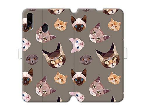 Hülle für Samsung Galaxy M20 - Hülle Wallet Book Fantastic - Geometrische Katzen Handyhülle Schutzhülle Etui Case Cover Tasche für Handy