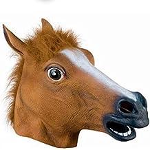 OULII Principal completo máscara cabeza de caballo máscara piel escalofriante Mane loco de látex de caucho Super Creepy Halloween fiesta