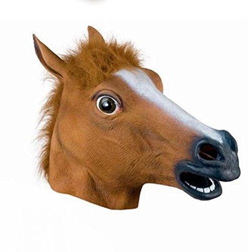 LUOEM Pferd Kopf Maske Latex Maske Gruselig Gummi Party Halloween Kostüm Maske Prop