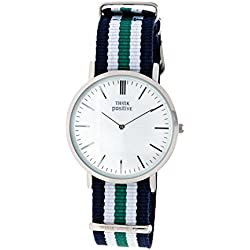 Ladies' THINK POSITIVE® Model SE W92 Watch Large Flat Steel Strap Of Cordora Color Blue, White, Green