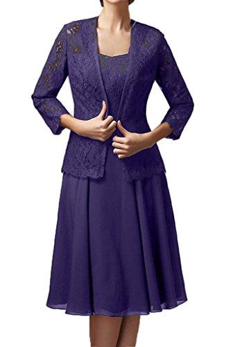 Milano Bride Damen Elegant Spitze Langarm Brautmutterkleider Abenkleider Festkleider Knielang mit Bolero Lavendel