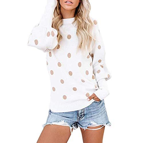 Damen Sommer Herbst T-Shirt O-Ausschnitt Lange Ärmel Hemd Lose Beiläufige Frauen Sexy Gradient Punkt Bedruckt Stretch Jahrgang Weste Yoga Tee Baumwolle Polyester Sweatshirt Bluse Tops (EU:40, Weiß) -