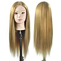 """Wansi Cosmetology 26 """" Synthetic Hairdressing Training Styling Head Mannequin Manikin Head for Braiding/Hairstyling/Hairsetting with Clamp"""