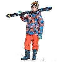 LPATTERN Traje de Esquí Respirable para Niños Traje de Nieve Grueso Impermeable para Deportes Invierno, Azul+Naranja, Talla:116-122/5-6 años