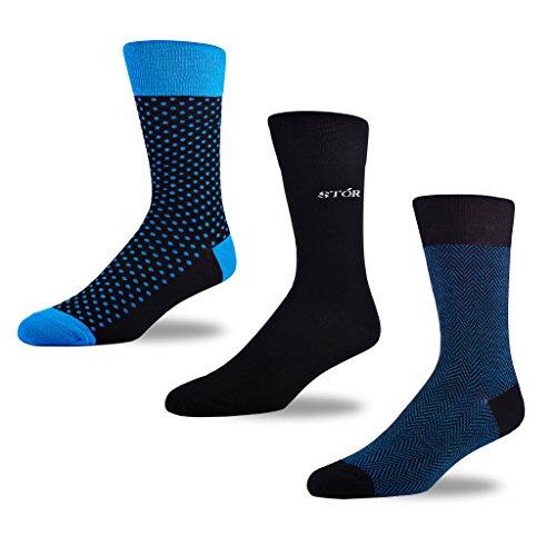 Image of STÓR Men's Socks (3-Pack) Polka Dot/Plain/Herringbone, Blue/Black/Blue, Large (43-46EU / 9-12UK), Bamboo Soft Antibacterial Designer Calf