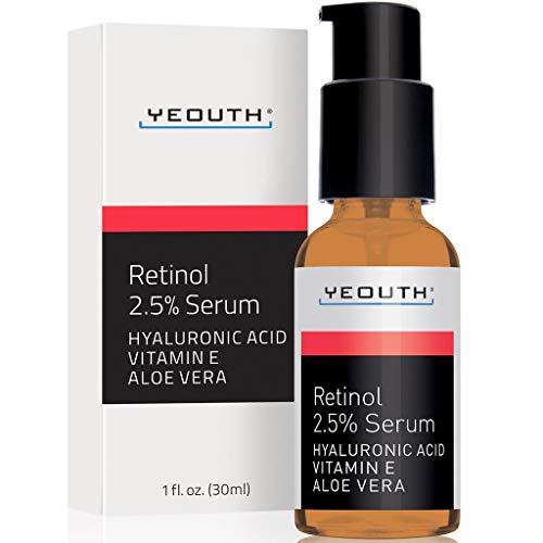 Retinol Sérum 2,5% con ácido hialurónico, aloe vera, vitamina E - aumenta la producción de colágeno, reduce las arrugas, líneas finas, incluso tono de piel, manchas de edad, puntos solares, 1 fl oz
