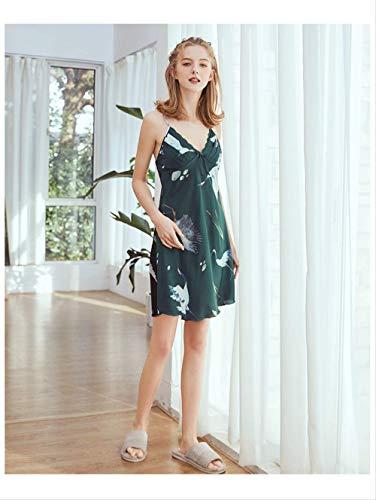 Damen Kostüm Für Hausgemachte - NSSYSKS New Multi Farben M l XL Größen Nachthemd für weibliche Frühling und Sommer Nachthemden mit Tieren Druck hausgemachte Kostüme XL Grün