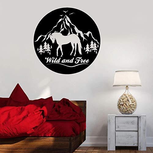 JXWR Wild und frei Wandtattoo Pferd Berg Vögel Natur Tier Vinyl Fenster Aufkleber Schlafzimmer Mann Höhle Home Art Deco Wandbild 57x57 cm