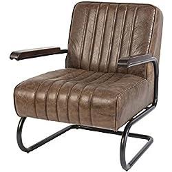 QAZQA - Sillón vintage cuero marrón claro desgastado - CITO
