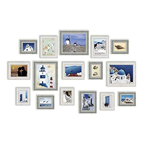 WENYAO Holz-Bilderrahmen-Set-16 Multi-Bilderrahmen-Set, Fotorahmen, Wandrahmen-Set mit 16 hochwertigen Rahmen, großes Fotorahmen-Wand-Set, Abdeckungen 1,08 x 2,05 m, Beste Wanddekoration,
