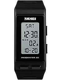aa83eb216f9e Relojes Pulsera Pedometer Calendario Alarma LED Digital Rectangular Relojes  Unisex Correa de PU Deportivo