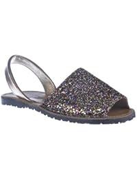 Sandalias Menorquinas en Glitter, Todo Piel mod.204. Calzado Made in Spain, Garantia de calidad.