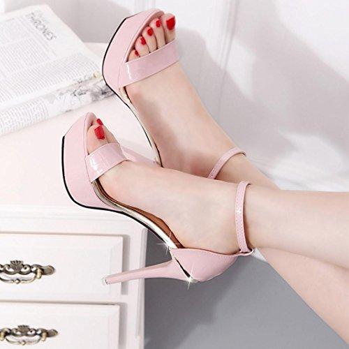 Transer® Damen Open Toe High Heels Niedlich Sandalen Flach Sandalen (Bitte achten Sie auf die Größentabelle. Bitte eine Nummer größer bestellen. Vielen Dank!) Rosa JBjX0NmU