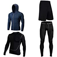 Lilongjiao Yoga Kleidung Anzug f/ünf-teiliger Sportanzug Laufbekleidung Gym Atmungsaktiv und schnell trocknend Fitness Kleidung Sport-BH Rei/ßverschluss Mit Kapuze