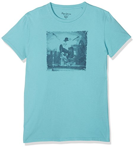 Pepe Jeans Jungen T-Shirt Fox Teen, Blau (Bleu Aqua), X-Small