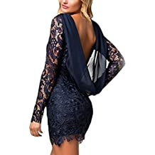 HX fashion Vestiti Donna Eleganti Pizzo Anni 50 Vintage Cerimonia da Sera  Corto Tubino Maniche Lunghe 15f1a7310b6