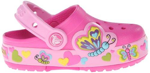 Crocs Lights Butterfly Ps, Sabots fille Rose (Neon Magenta/Carnation)