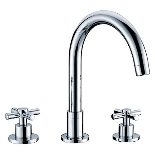 LJ Alle Bronze Drei Löcher Doppelgriff Waschbecken Heiß und Kalt Kann Wasserhahn Drehen (3 8 1 4 Drehen Sie Das Ventil)