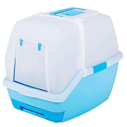 OLT -Pet toilet Indoor Outdoor Haustier - Toilette, Katzentoilette, Vollständig Geschlossene, wasserdichte Deo - Toilette, Geeignet Für Katzen/Welpen/Kaninchen Usw (Color : Blue)