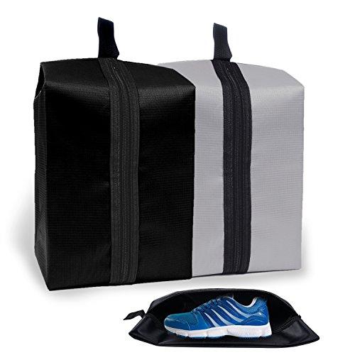 4x Schuhbeutel wasserdicht Aufbewahrungstasche Organizer-Taschen 600D Oxford für Outdoor Sport Camping Wandern Reisen Schuhetasche Veranstalter Beutel mit Reissverschluss Schwarz Grau