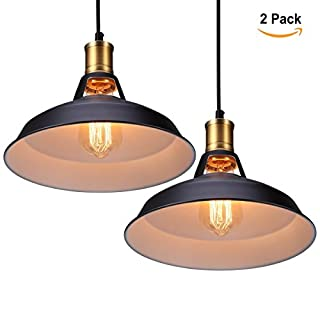 Vintage Metal Industrial Pendant Lamps S&G Retro Ceiling Lamp Edison Bulb Cafe Pendant Lighting Kitchen Restaurant Fixture Drop Light, Black