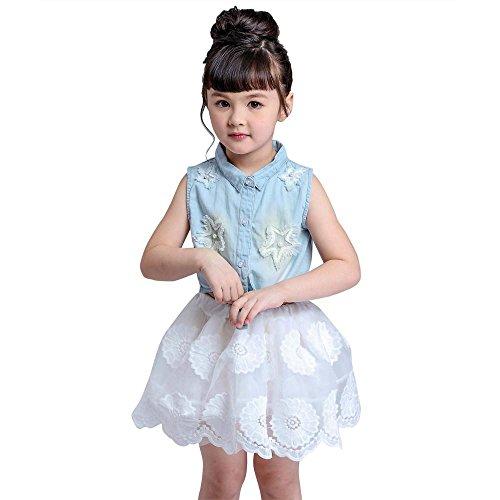 Vovotrade Bella bambino del bambino delle ragazze dei capretti fototecnica denim vestiti della maglia delle parti superiori + chiffon bianco Gonna 1Set (8/9età/120)